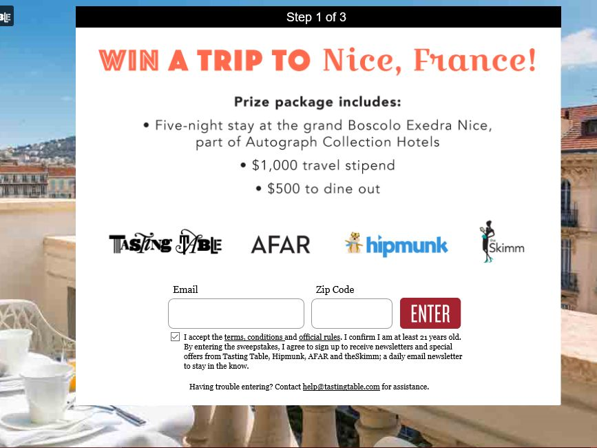 Tasting Table 2015 Trip to France Sweepstakes