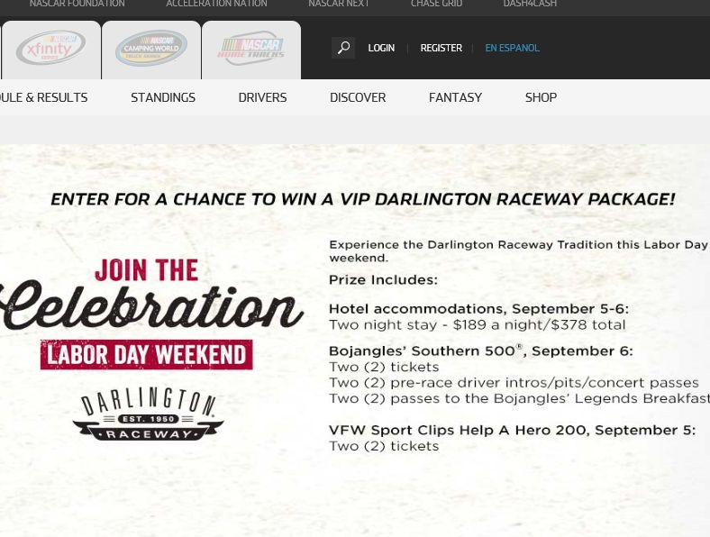 The NASCAR.com Darlington Bojangles' Southern 500 Sweepstakes