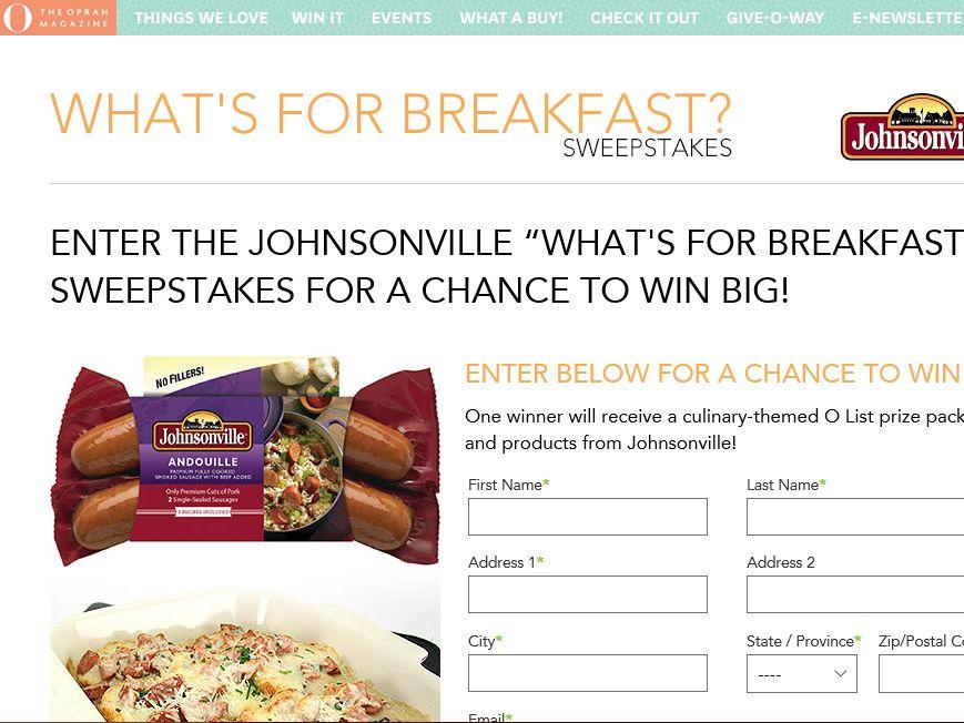 "Johnsonville ""What's For Breakfast?"" Sweepstakes"