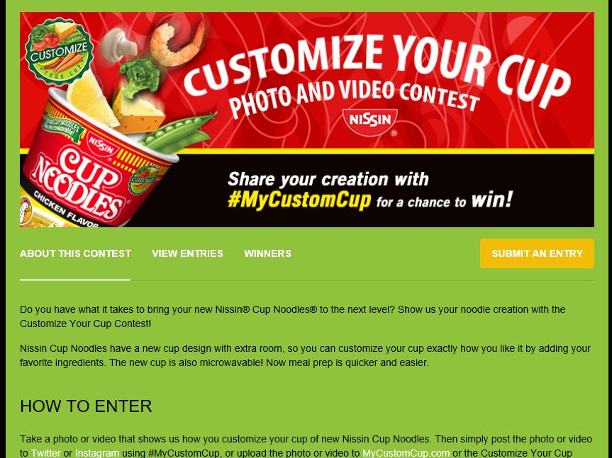 Nissin Cup Noodles Customize Your Cup Contest