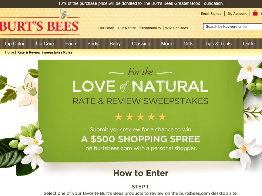 Burt's Bees For the Love of Natural – Rate & Review Sweepstakes