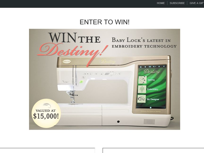 Classic Sewing Destiny Sweepstakes