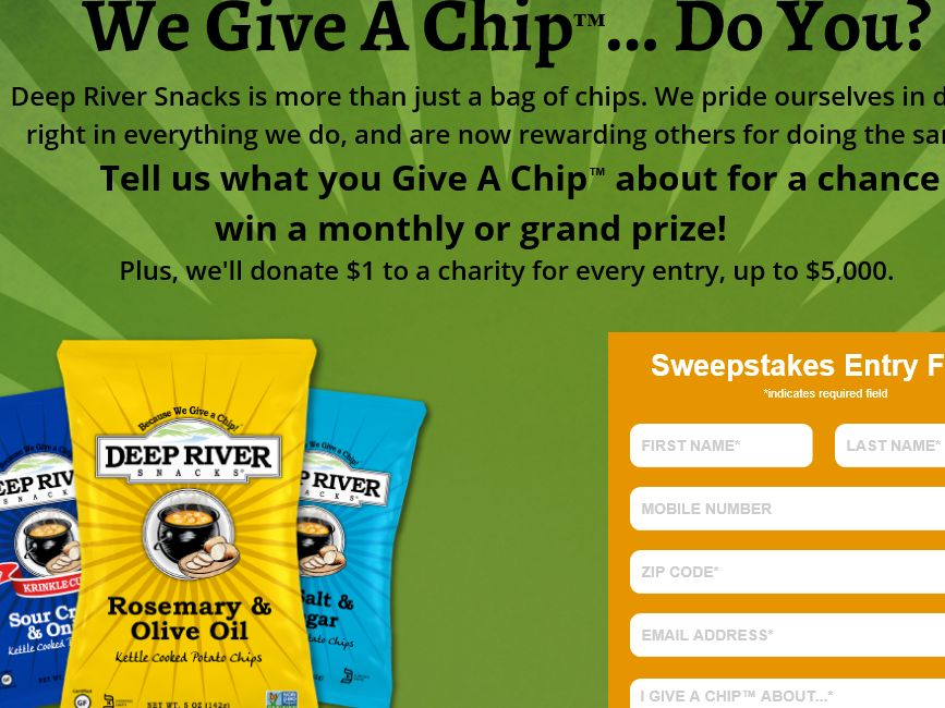 Deep River Snacks Give A Chip Sweepstakes