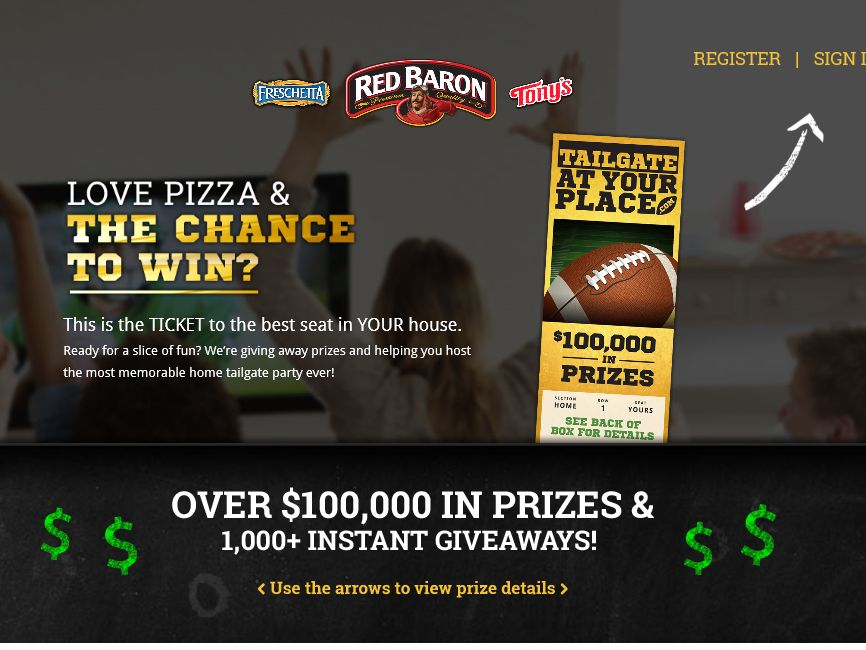 Red Baron Tailgate at Your Place Sweepstakes