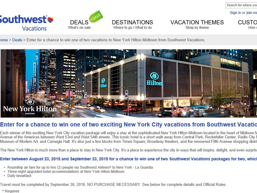 Southwest Vacations New York Hilton Midtown August Sweepstakes