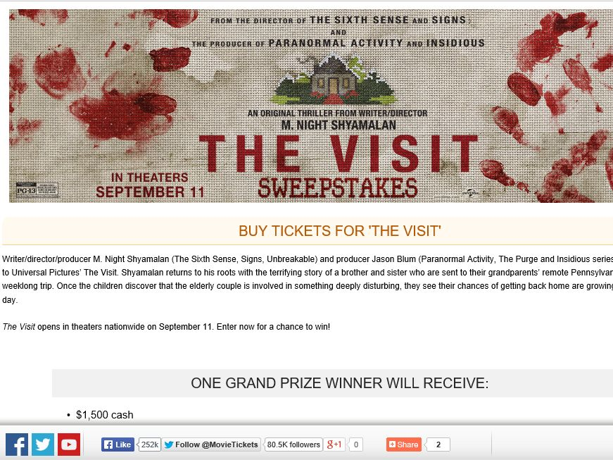"""The MovieTickets.com """"The Visit"""" Sweepstakes"""