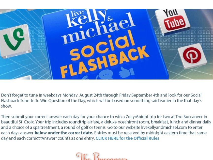 LIVE's Social Flashback Tune in to Win Sweepstakes