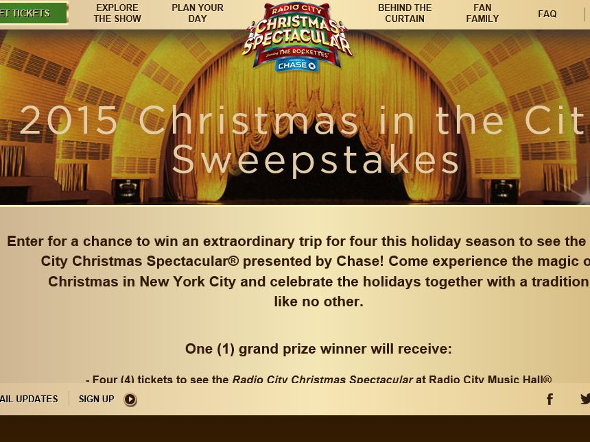 The Radio City 2015 Christmas in the City Sweepstakes