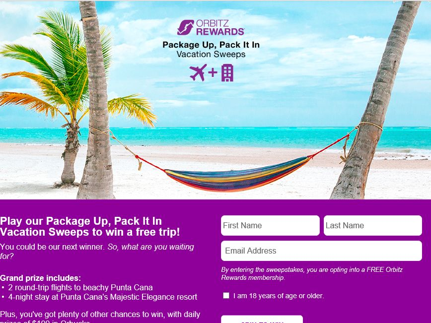 Orbitz Package Up, Pack It In Vacation Sweepstakes