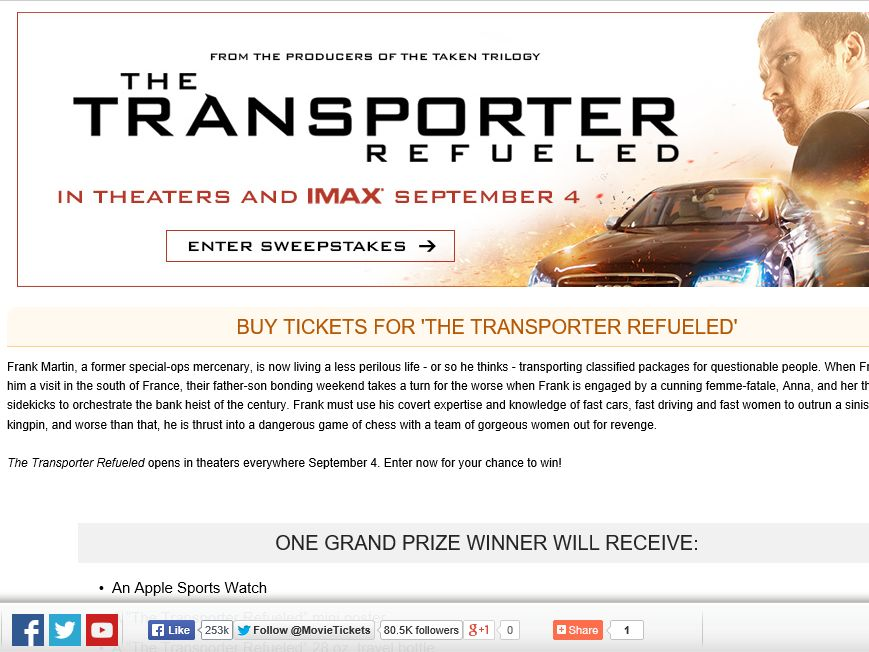 """MovieTickets.com's """"The Transporter Refueled"""" Sweepstakes"""