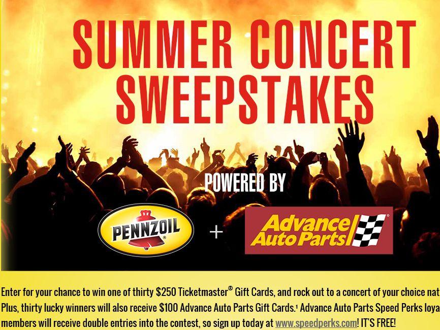 Pennzoil Summer Concert  Sweepstakes