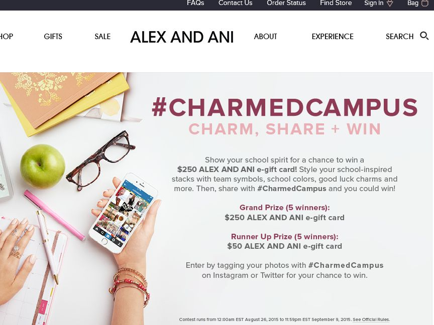 Alex and Ani: Back to School Sweepstakes