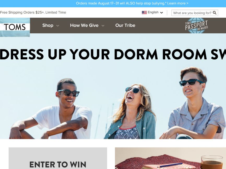 TOMS Shoes, LLC TOMS Dress Up Your Dorm Room Sweepstakes