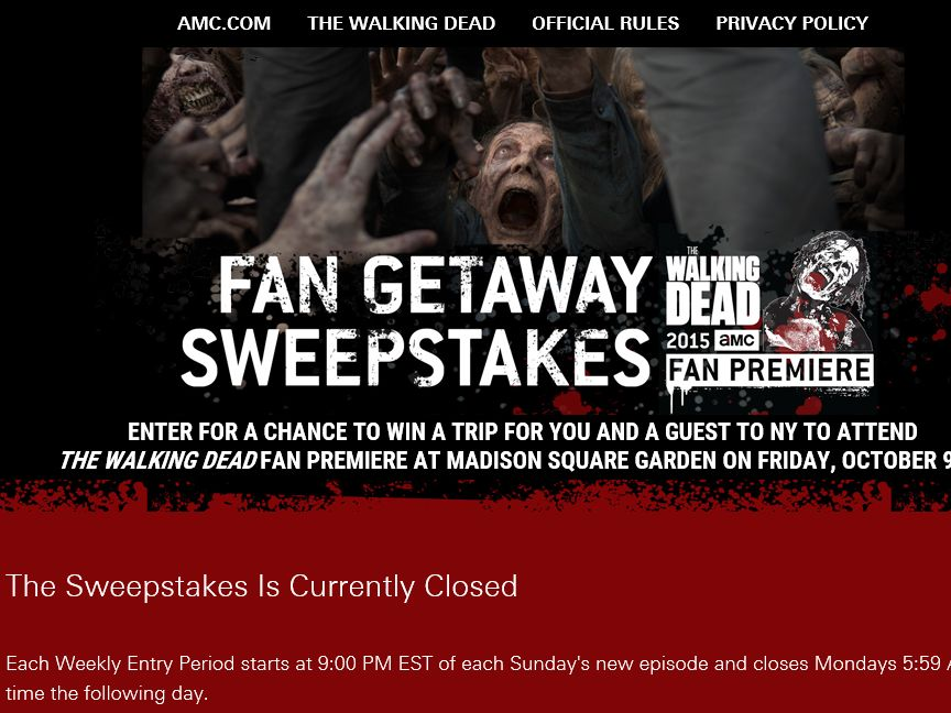walking dead amc sweepstakes amc s the walking dead fan getaway sweepstakes select 3892