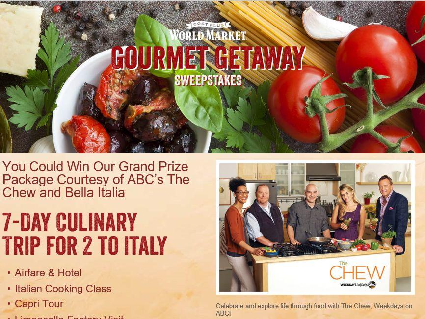 Cost Plus World Market Gourmet Getaway Sweepstakes