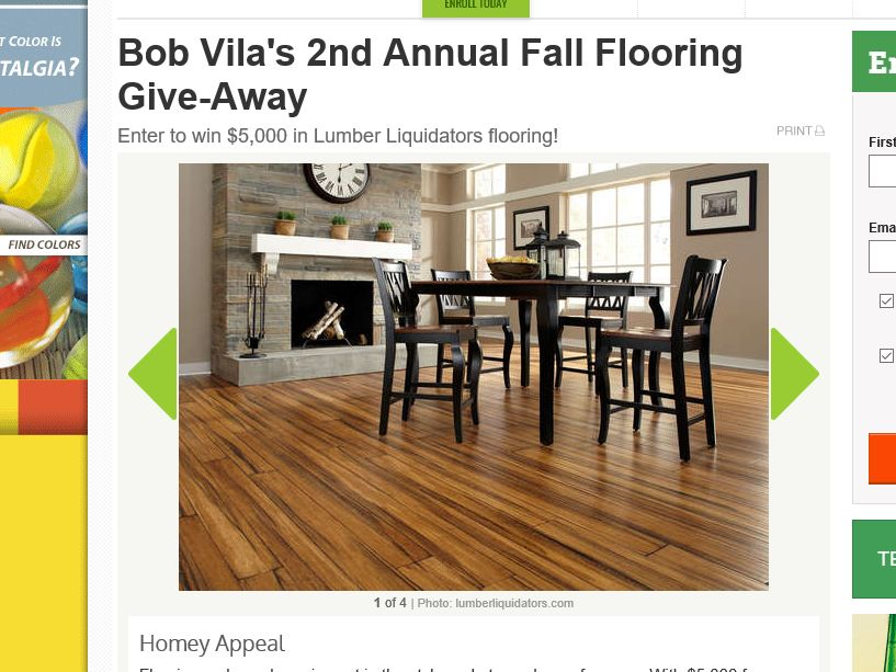 "Bob Vila's ""2nd Annual $5,000 Fall Flooring Give Away"" Sweepstakes"