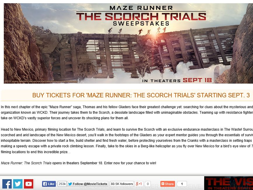 """The MovieTickets.com """"Maze Runner: The Scorch Trials"""" Sweepstakes"""