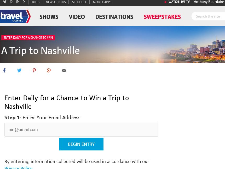 Travel Channel September 2015 Sweepstakes