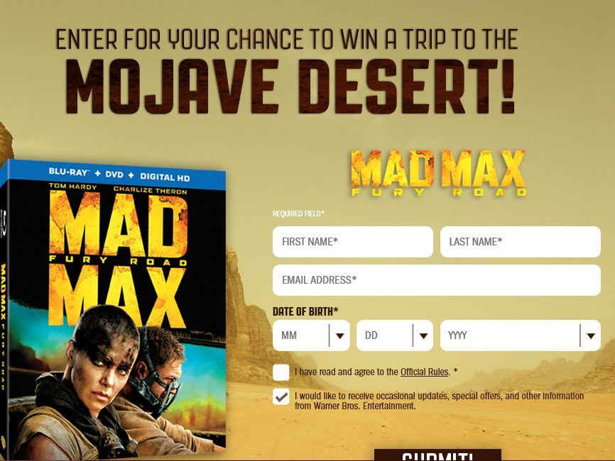The Mad Max Fury Road Sweepstakes
