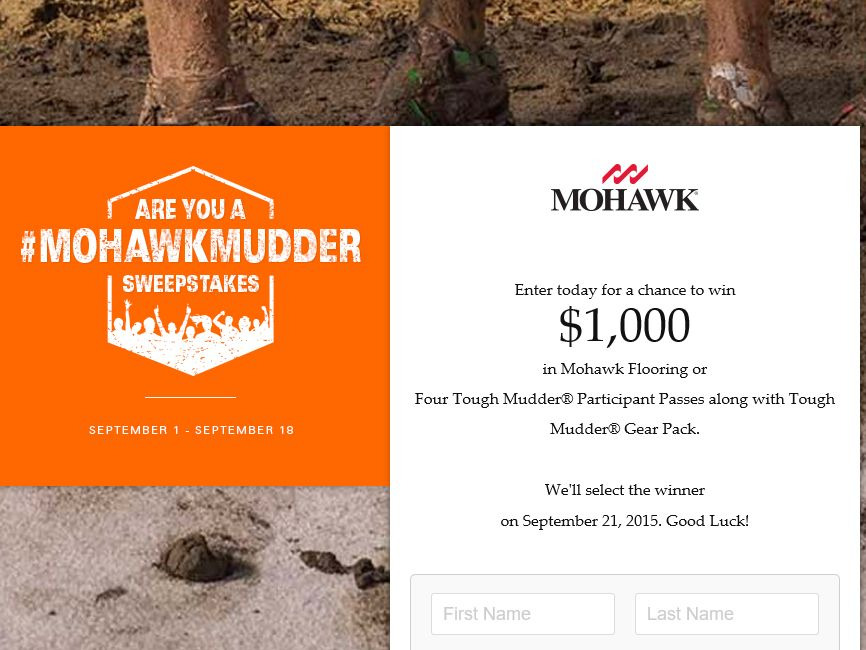 "The Mohawk Flooring ""Are You a #MohawkMudder"" Sweepstakes"