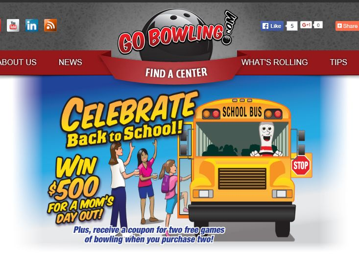 """GoBowling.com """"Celebrate Back to School"""" Sweepstakes"""