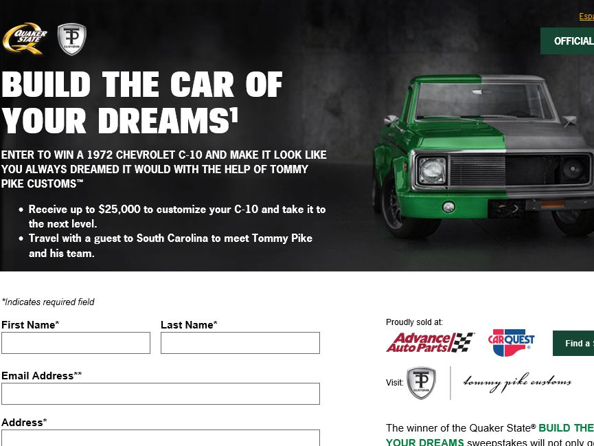 """Quaker State """"Build the Car of Your Dreams"""" Sweepstakes"""