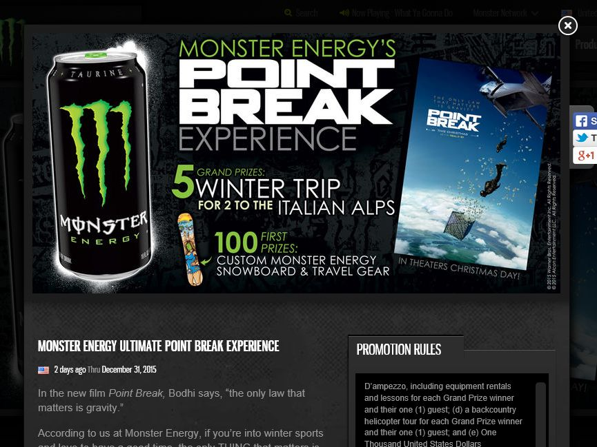 Monster Energy Ultimate Point Break Experience Sweepstakes
