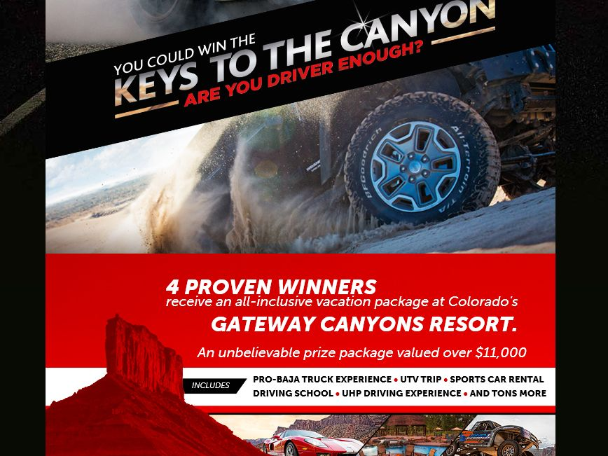 The BFGoodrich Keys to the Canyon Sweepstakes