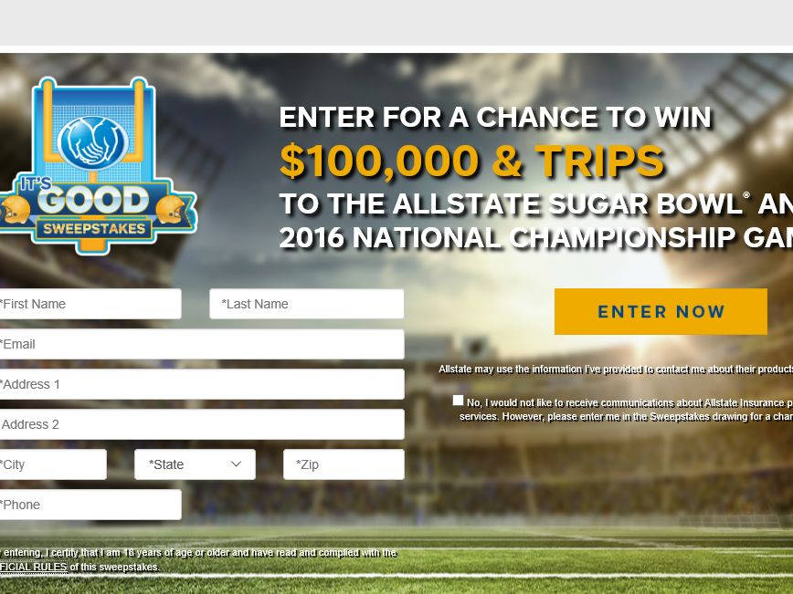 The Allstate It's Good Sweepstakes