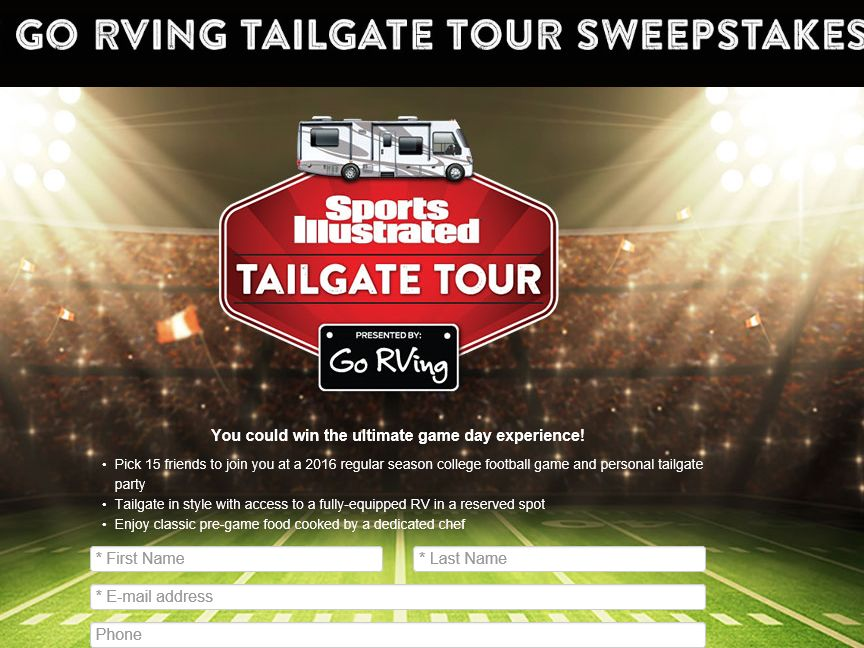 """The Sports Illustrated """"Go RVing Tailgate Tour"""" Sweepstakes"""