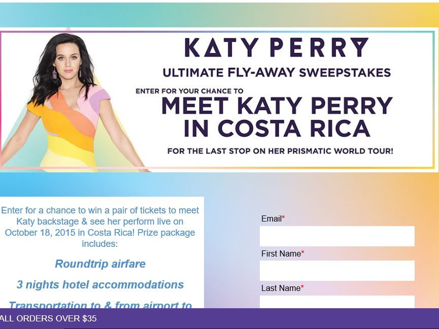 Claire's Katy Perry Ultimate Fly-Away Sweepstakes
