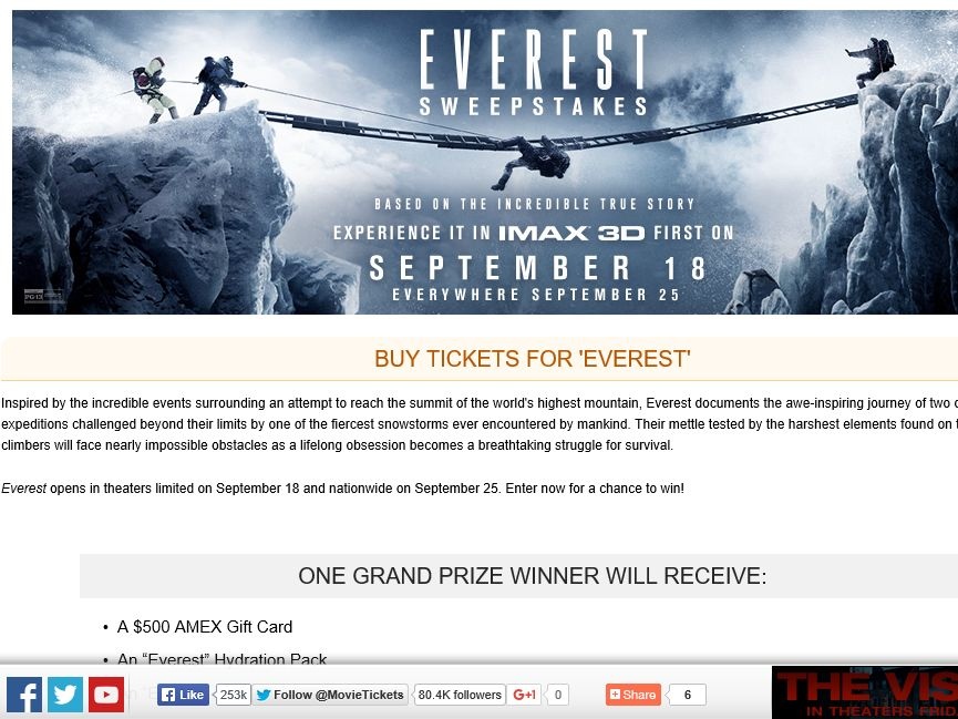 """The MovieTickets.com """"Everest"""" Sweepstakes"""