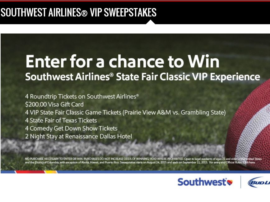 Southwest Airlines State Fair Classic VIP Experience Sweepstakes