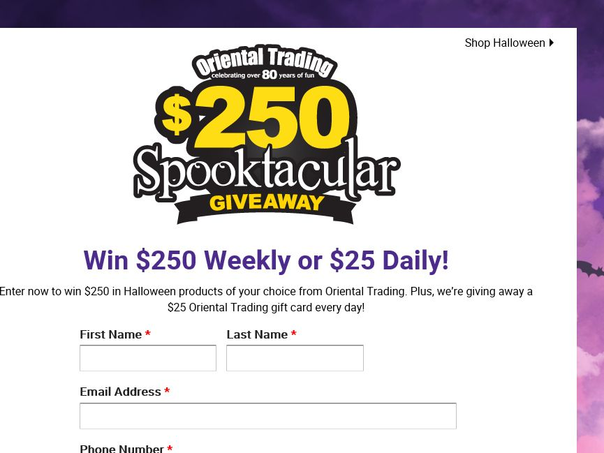 The Oriental Trading Company Spooktacular Giveaway Sweepstakes