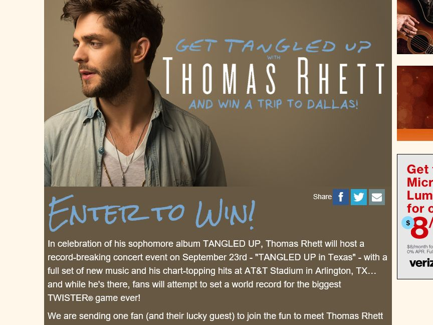 """Cumulus Radio's """"Get Tangled Up with Thomas Rhett in Texas"""" Sweepstakes"""