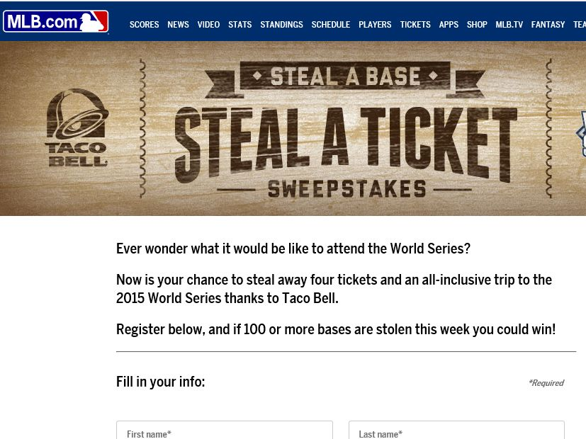 Past world series sweepstakes