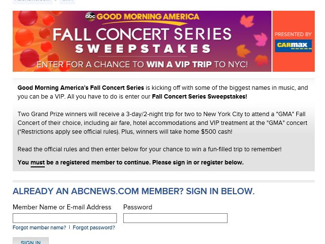 The Good Morning America Fall Concert Series Sweepstakes