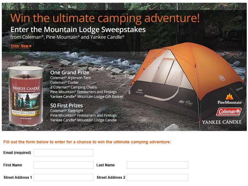 Yankee Candle, Coleman and Pine Mountain Mountain Lodge Sweepstakes