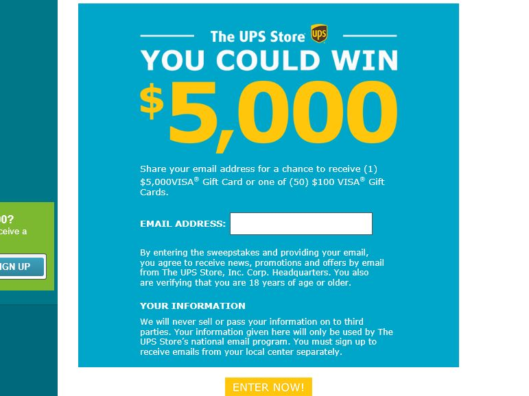 The UPS Store Gift Card Sweepstakes