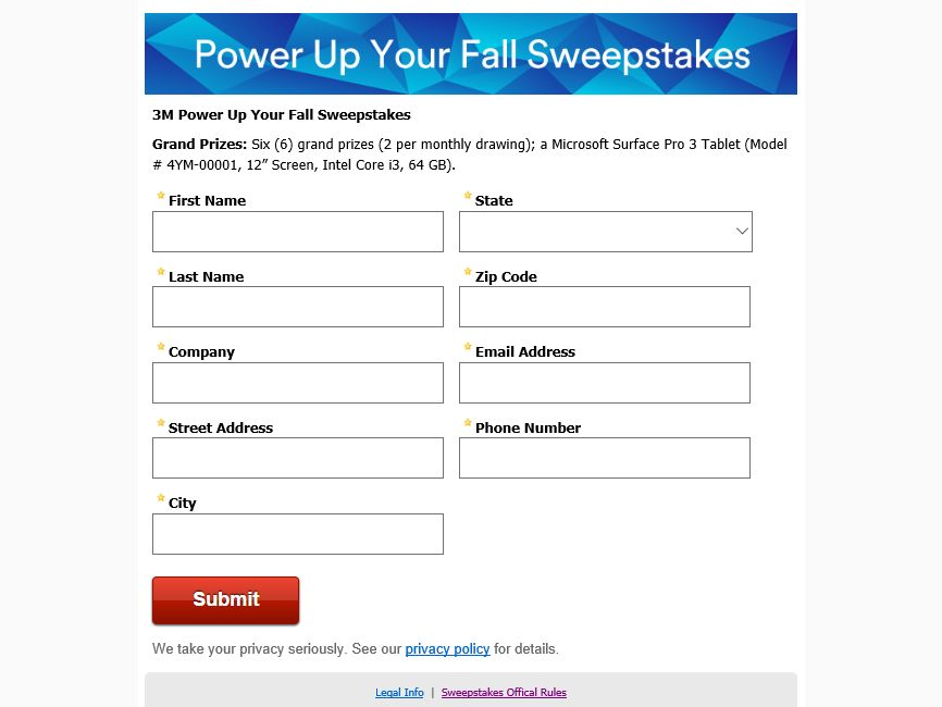 The 3M Power Up Your Fall Sweepstakes