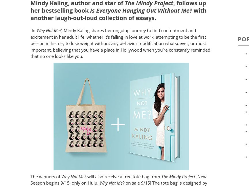 Mindy Kaling's New Book and Special Tote Bag! Sweepstakes