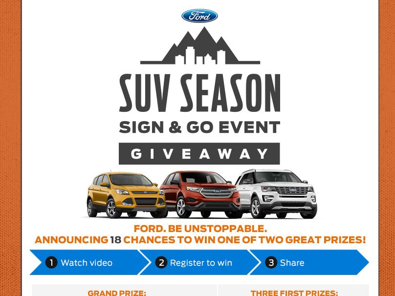 The 2015 Ford SUV Season Giveaway Sweepstakes
