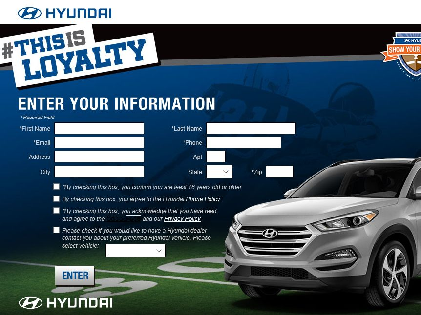"""The 2015 Hyundai """"This is Loyalty"""" Sweepstakes"""