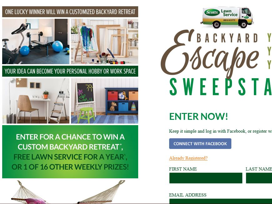 Scotts Lawn Service Backyard Escape Sweepstakes