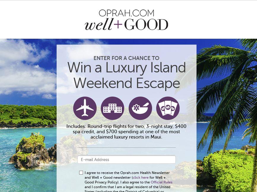 The Oprah Luxury Island Weekend Escape Sweepstakes