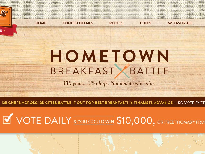 Thomas' Hometown Breakfast Battle Voting Sweepstakes