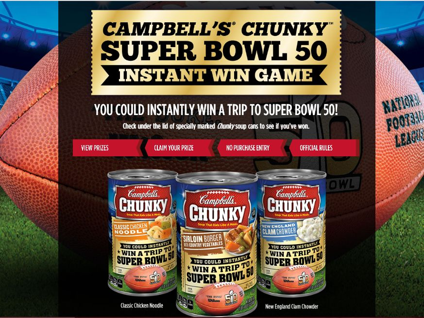 Cambell's Chunky Super Bowl 50 Instant Win Game