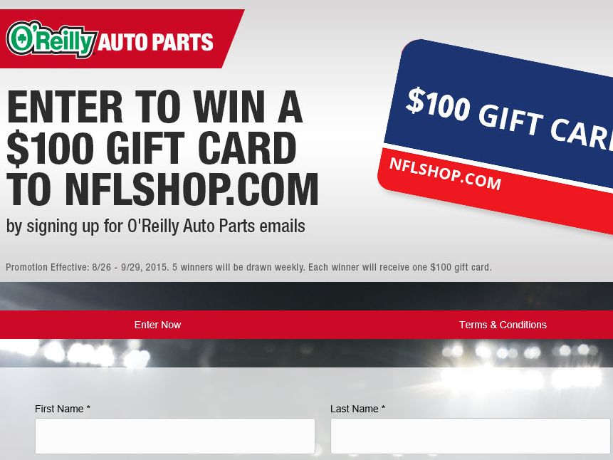 The O'Reilly Email Sign-up Giveaway Sweepstakes
