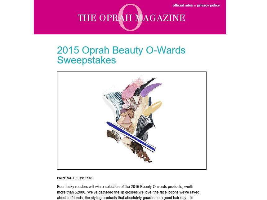 Oprah Beauty O-Wards Sweepstakes