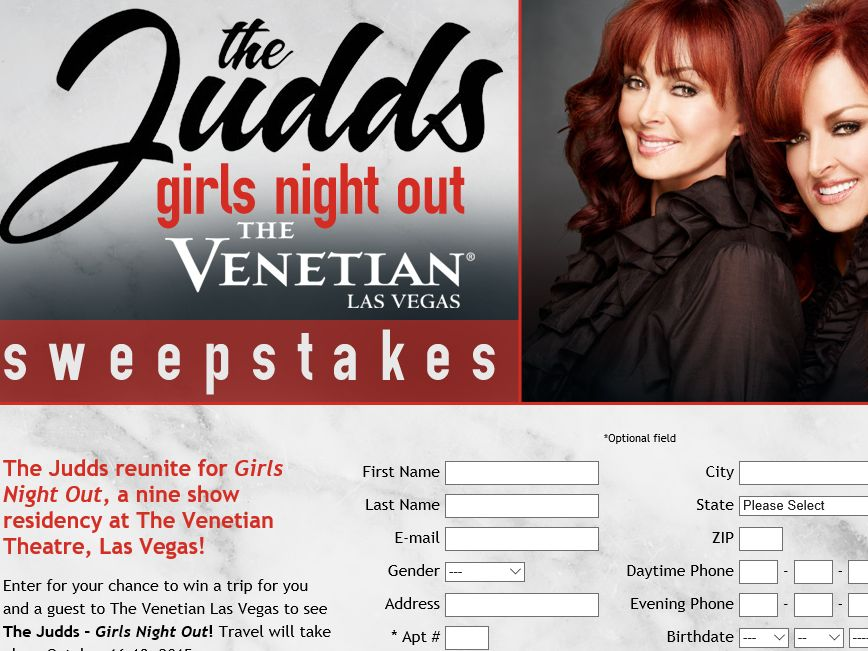 The Judds – Girls Night Out at The Venetian Sweepstakes